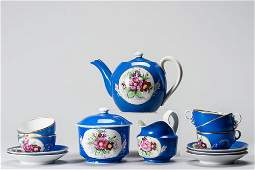 19th C Russian 13Piece Gardner Porcelain Tea Set