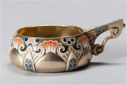 19th C Russian Silver Gilded & Enamel Cup (Kovsh)