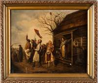 19th C. Russian Oil Painting After V. Perov