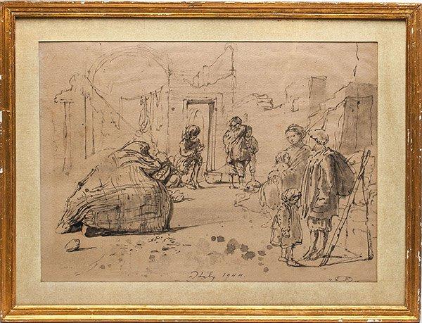 Russian artist Eugene Berman, Ink on Paper, 1944