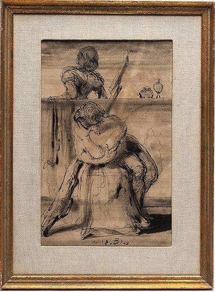 Russian artist Eugene Berman, Ink on Paper, 1943