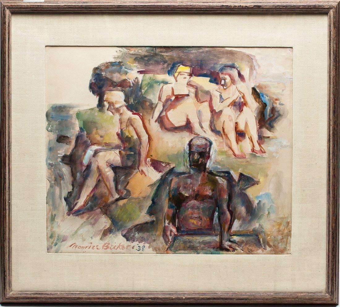 Russian/American artist Maurice Becker, W/C, 1938