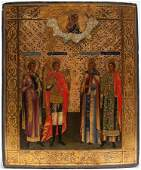 A RUSSIAN ICON OF SELECTED SAINTS, 19TH C.