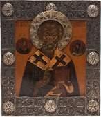 A RUSSIAN ICON OF ST NICHOLAS 19TH C