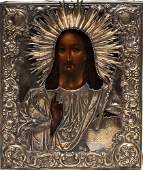A RUSSIAN ICON OF CHRIST PANTOCRATOR 19TH C