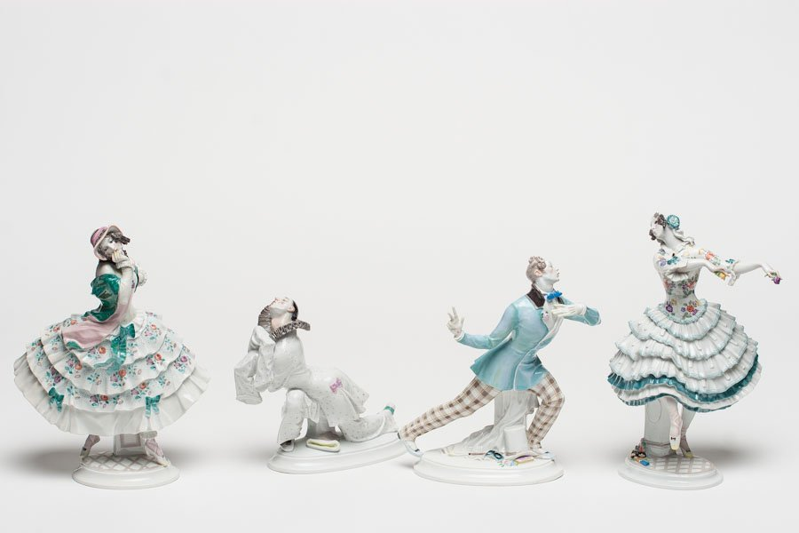 Four Porcelain Figurines of Russian Ballet, Meissen