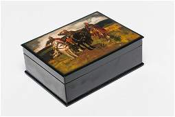 A Russian Large Lacquer Box, Fedoskino