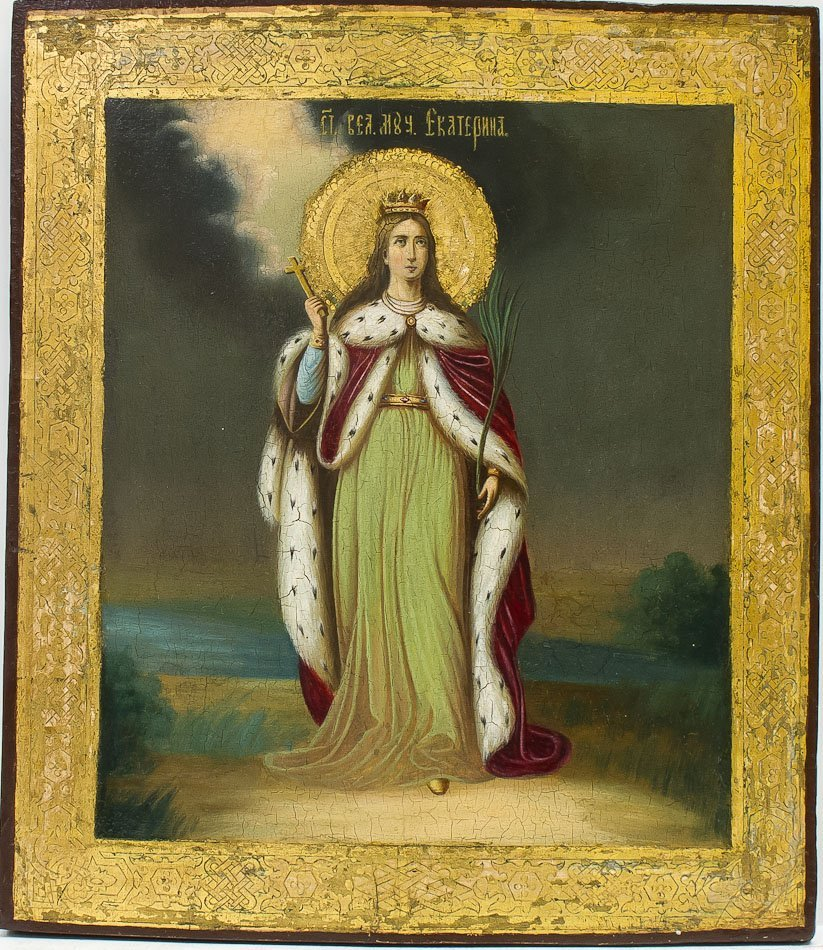 A RUSSIAN ICON OF ST EKATERINA