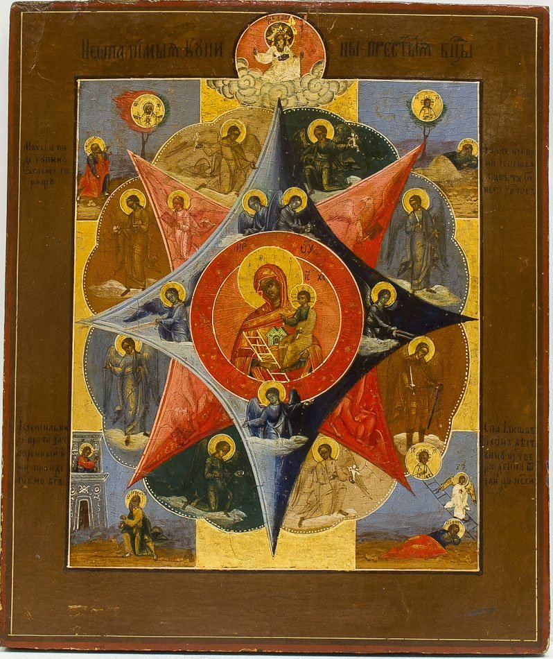 A RUSSIAN ICON OF THE UNBURNT THORNBUSH MOTHER OF GOD
