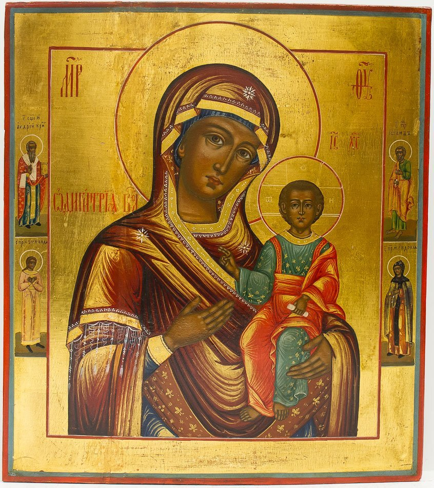A RUSSIAN ICON OF MOTHER OF GOD, VIRGIN HODEGETRIA