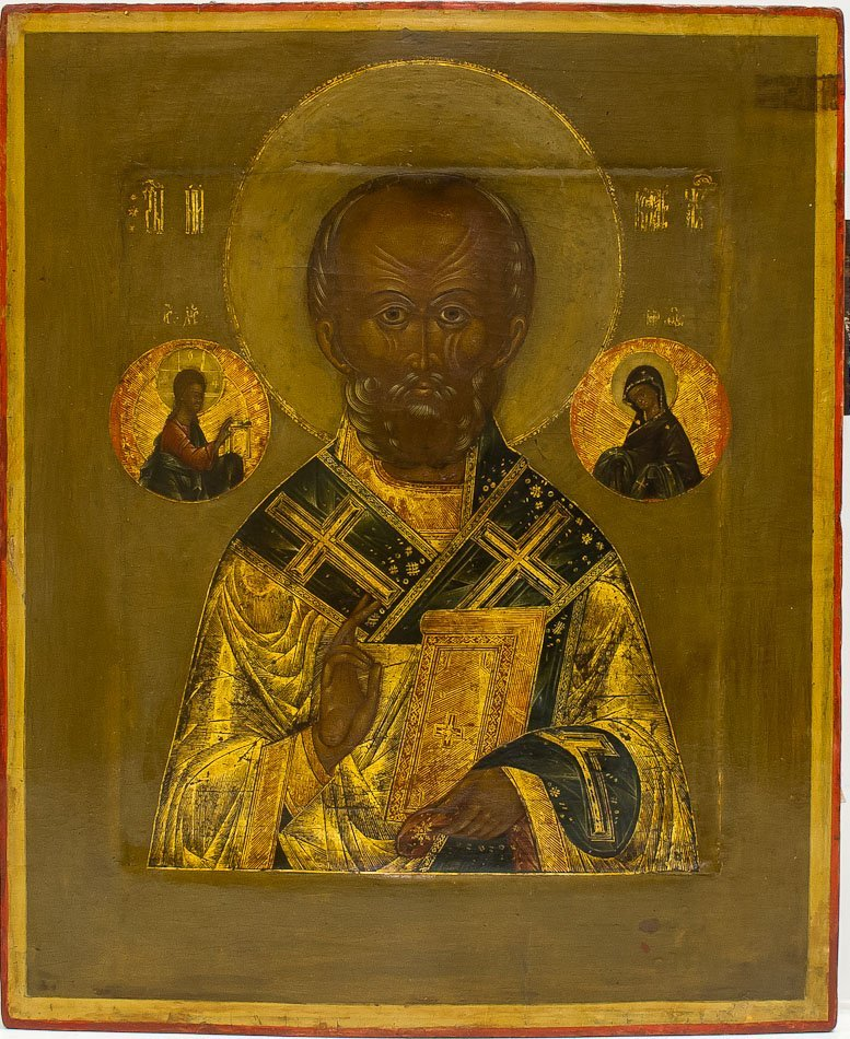A RUSSIAN ICON OF ST. NICHOLAS