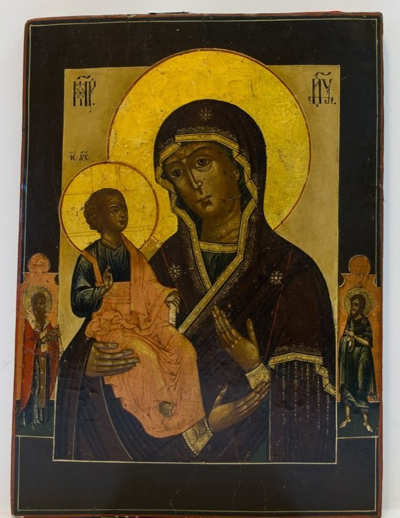 A RUSSIAN ICON OF MOTHER OF GOD WITH THREE HANDS