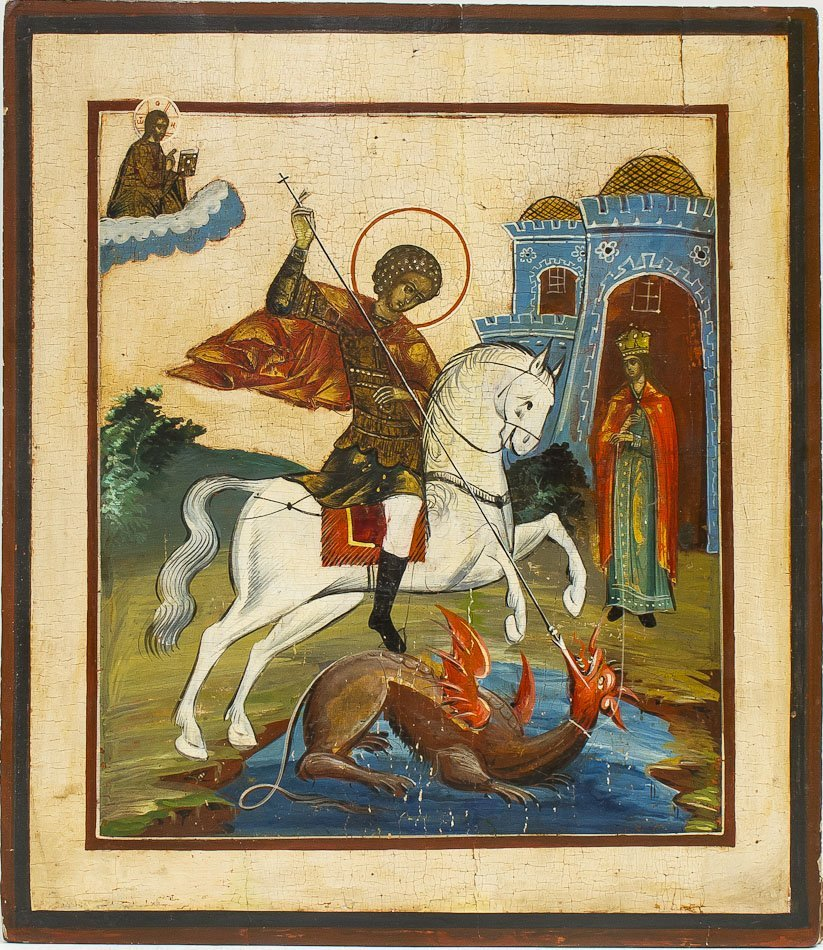 A RUSSIAN ICON OF ST GEORGE