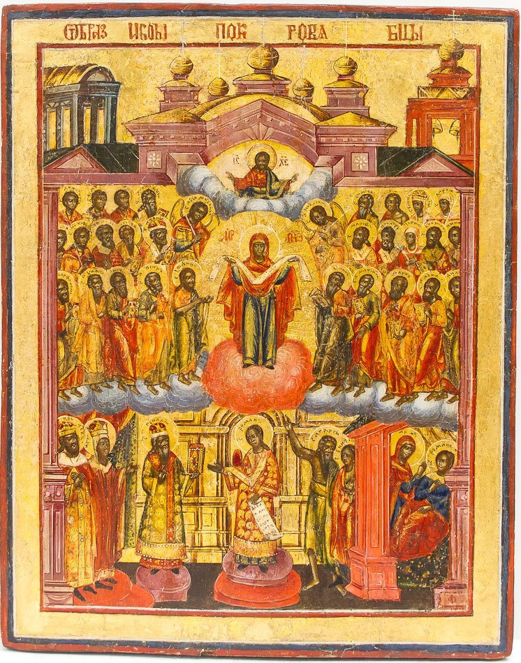 A RUSSIAN ICON OF THE PROTECTION OF MOTHER OF GOD