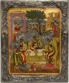 A RUSSIAN ICON OF OLD TESTAMENT TRINITY