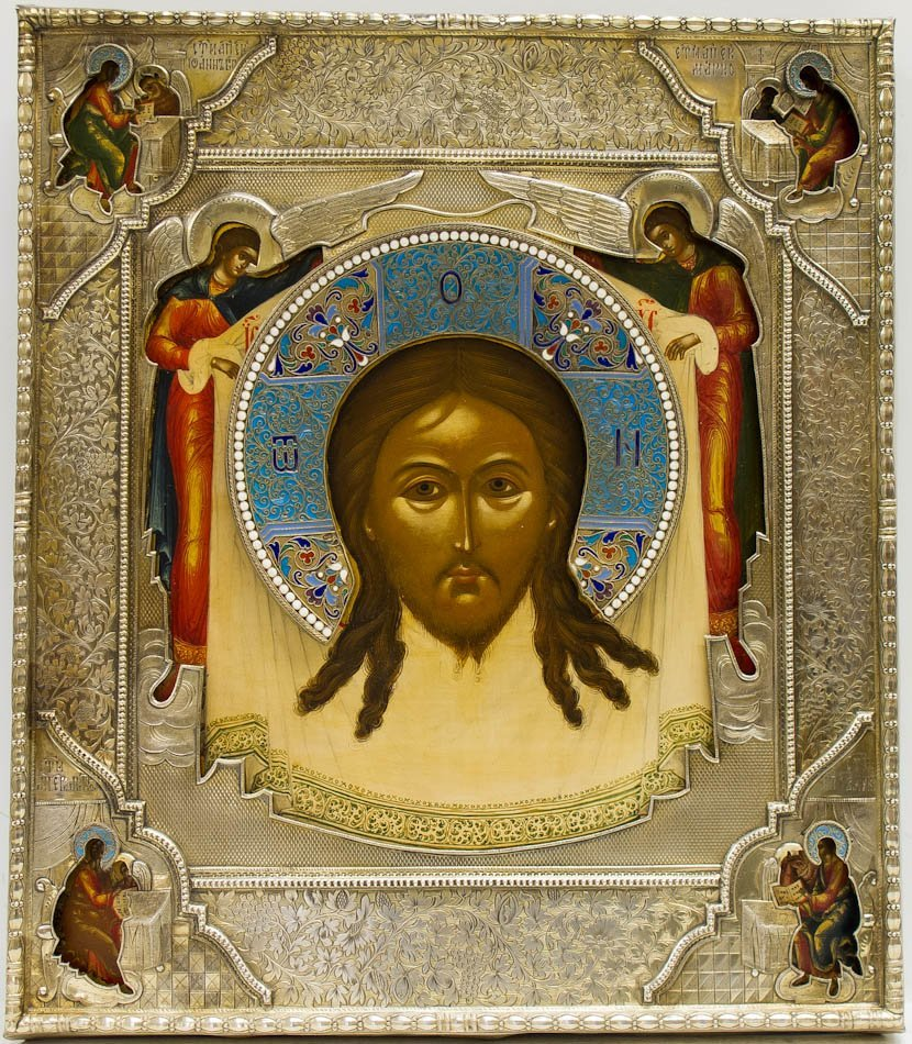 A RUSSIAN ICON OF SAVIOR NOT MADE BY HANDS