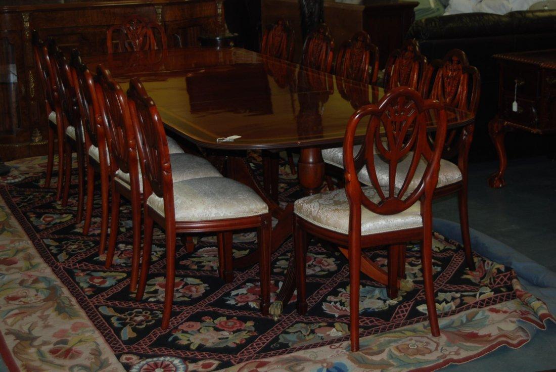 Mahogany Pedestal Table DR Set w/ 12 Chairs