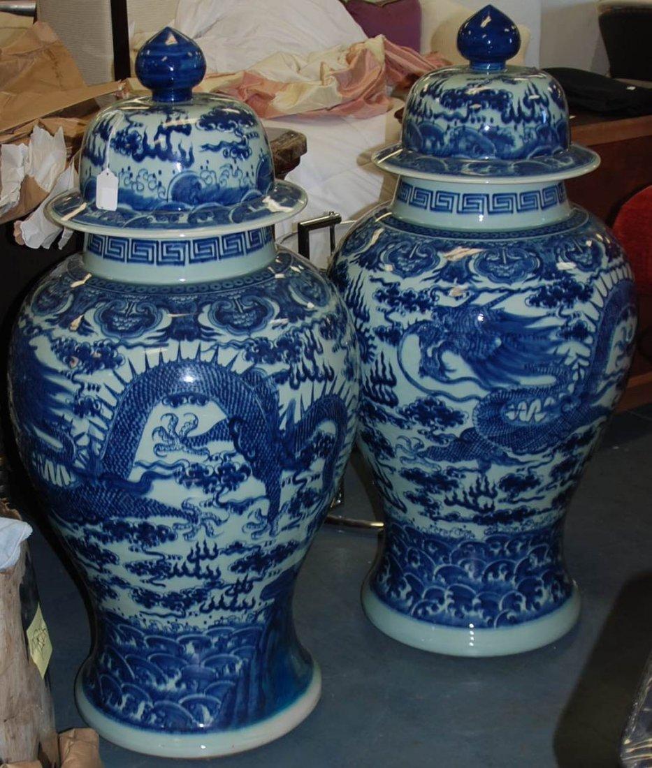 Pair Blue/White Oriental Vase