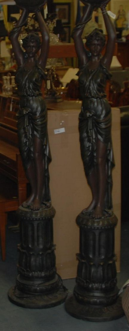 Pair Floor Lamps Female w/ Raised Arms