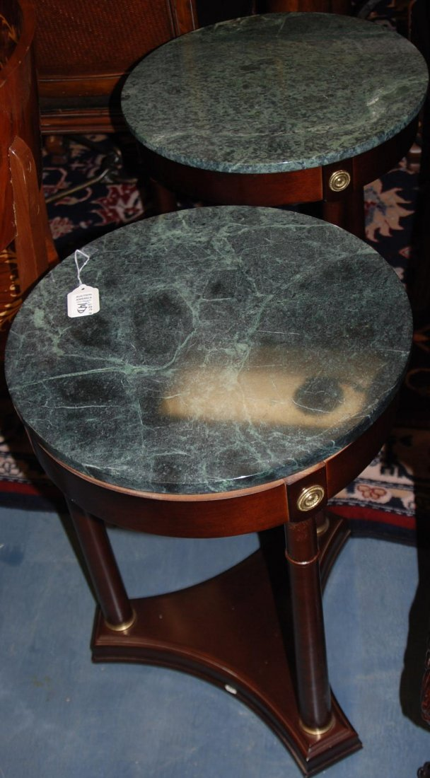 Pair Round Tables Stone Top