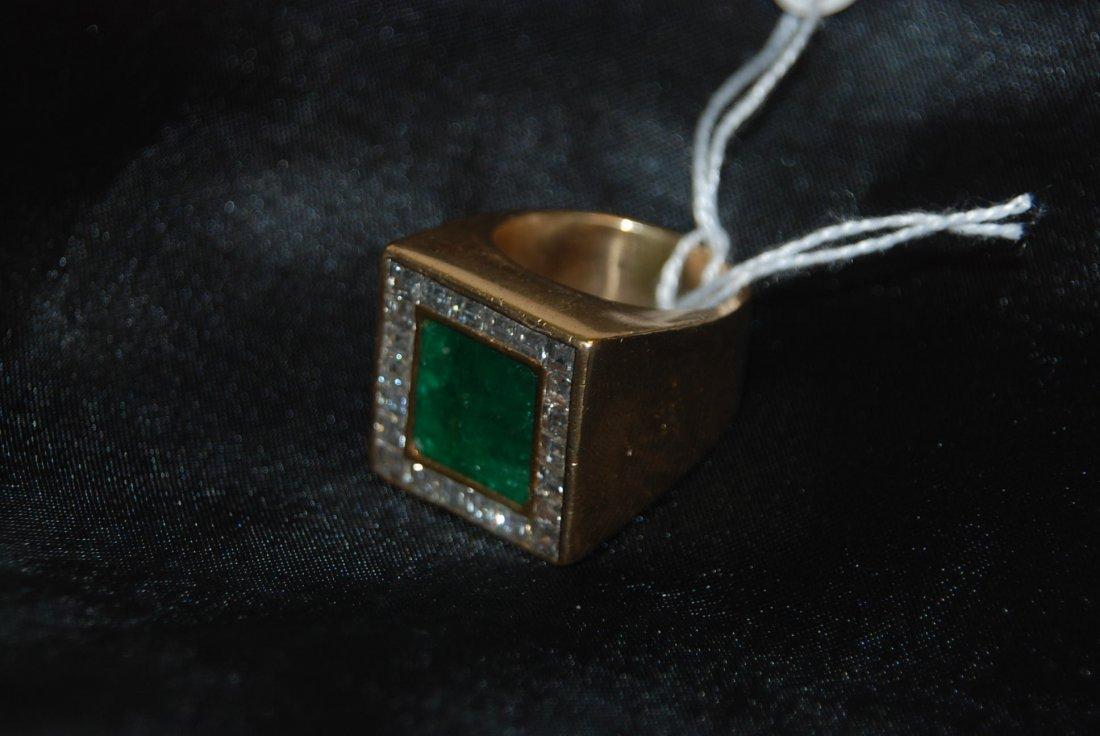 Men's Ring Square Emerald Approx. 14 ct. w/ 22 Diamonds