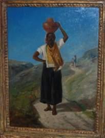 Original Art Femme Noire portant une cruche sur la tete