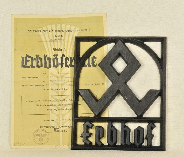 Germany (1933-1945) - Erbhof-Iron shield with document