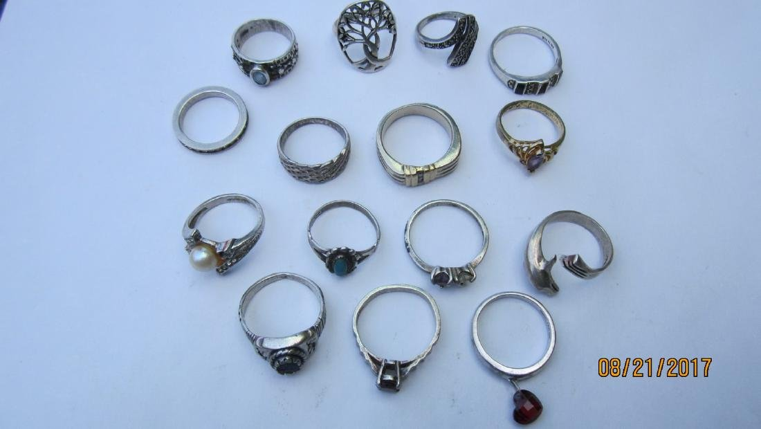LOT OF 15 STERLING NICE ASSORTED RINGS - - EXC.COND