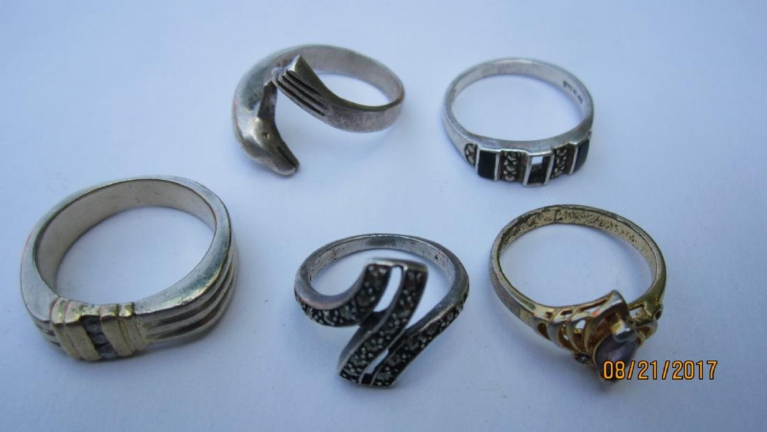 LOT OF 15 STERLING NICE ASSORTED RINGS - - EXC.COND - 2