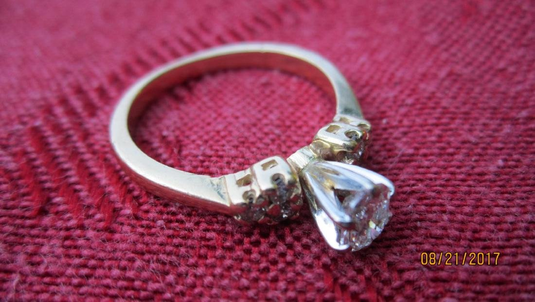FABULOUS 14K RING WITH 50 PT. OVAL CENTER DIAMOND WITH - 4