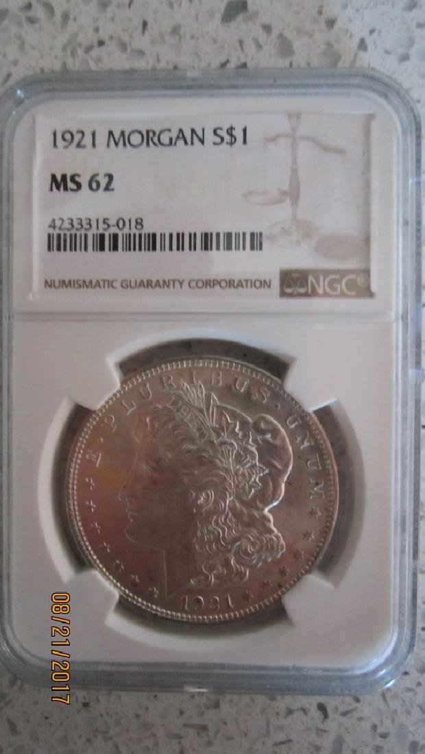 1921 MORGAN SILVER DOLLAR MS62 GRADED NGC IN CASE
