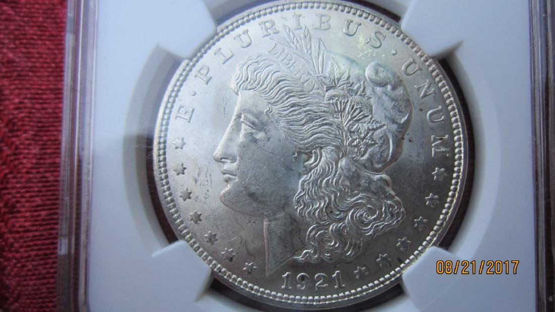 1921 MORGAN SILVER DOLLAR MS62 GRADED NGC IN CASE - 3