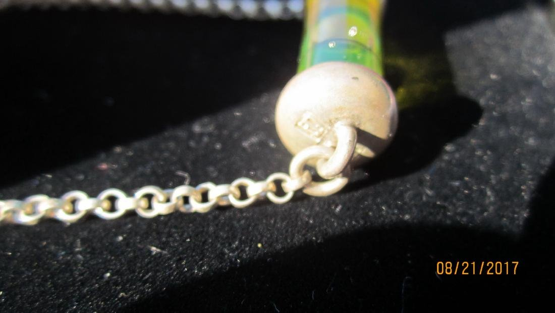 UNUSUAL STERLING NECKLACE WITH WORKING LEVEL PENDANT - - 2