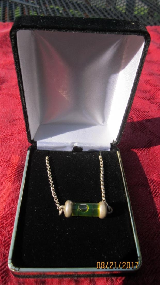 UNUSUAL STERLING NECKLACE WITH WORKING LEVEL PENDANT - - 3
