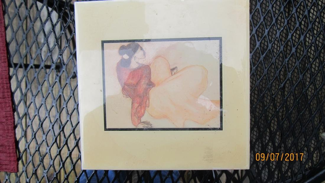 NICE 8 INCH SQUARE HAND PAINTED TILE BY A.R.T. CO. N.M.