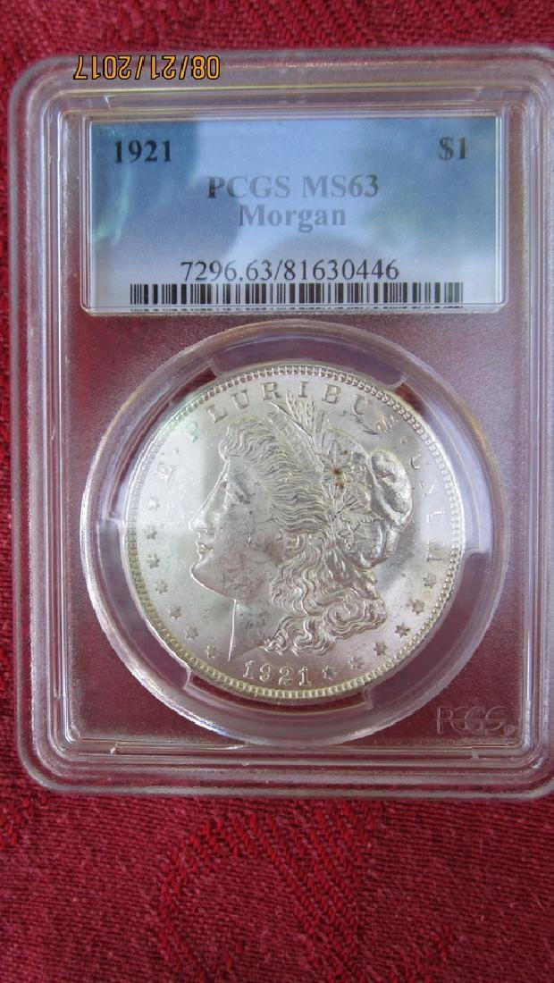 1921 MS63 MORGAN SILVER DOLLAR IN CASE FROM PCGS CO.