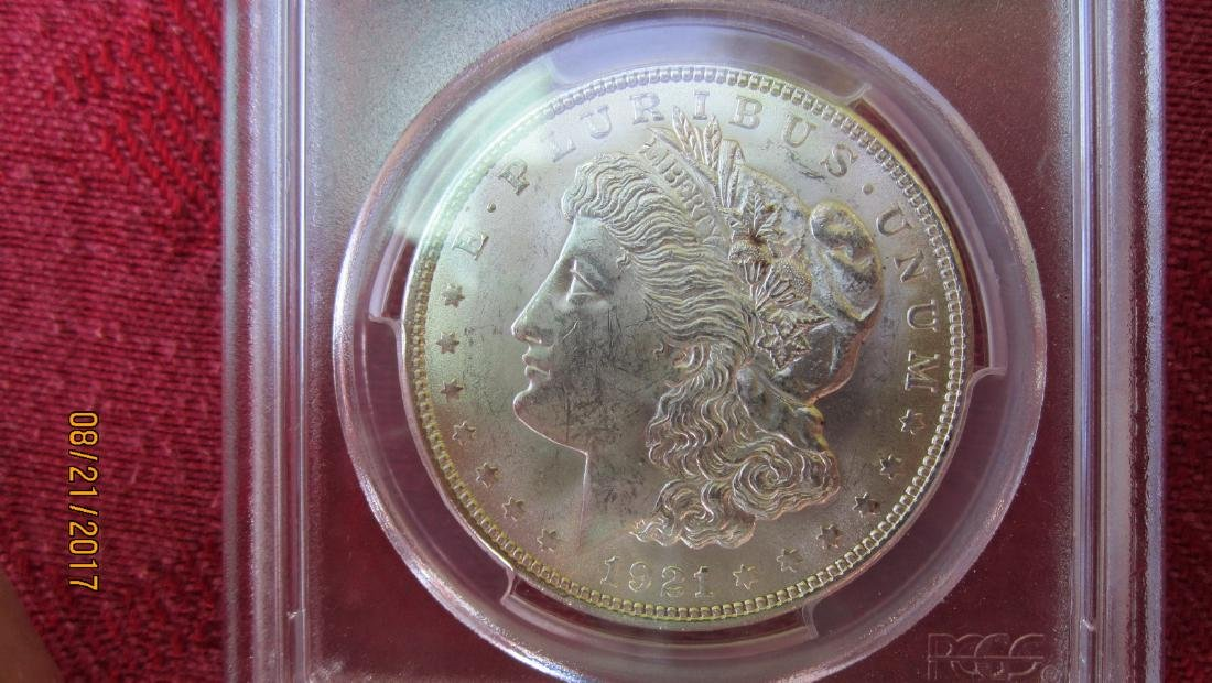 1921 MS63 MORGAN SILVER DOLLAR IN CASE FROM PCGS CO. - 2