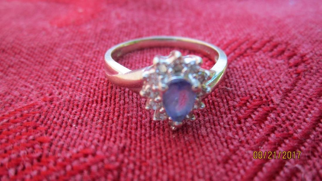 14K RING WITH TANZANITE - SIZE 6.25  - EXC.COND