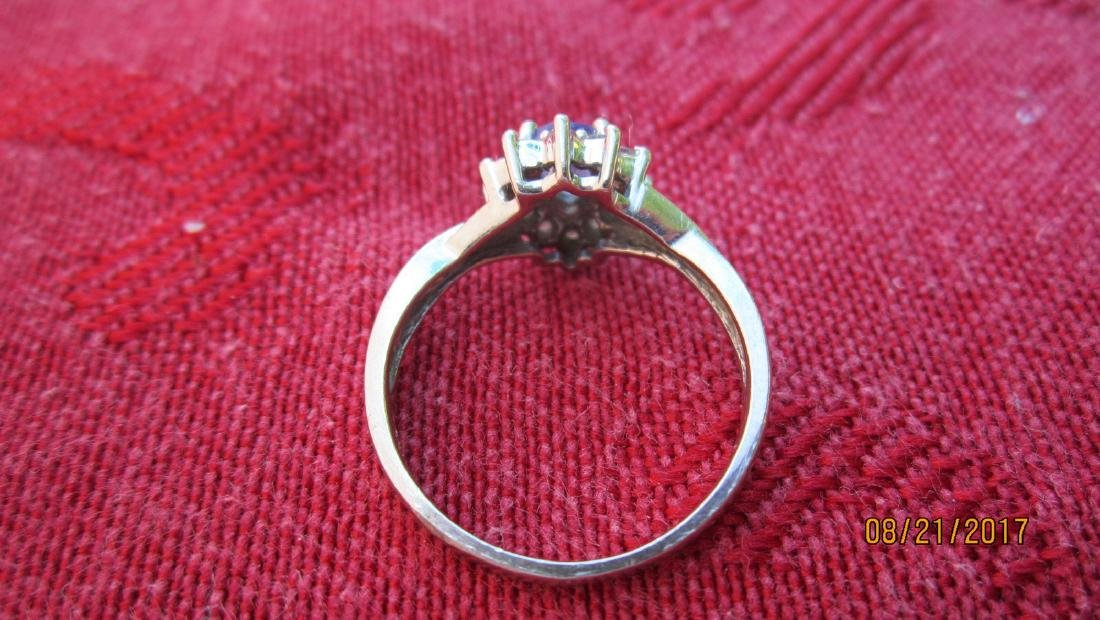 14K RING WITH TANZANITE - SIZE 6.25  - EXC.COND - 3