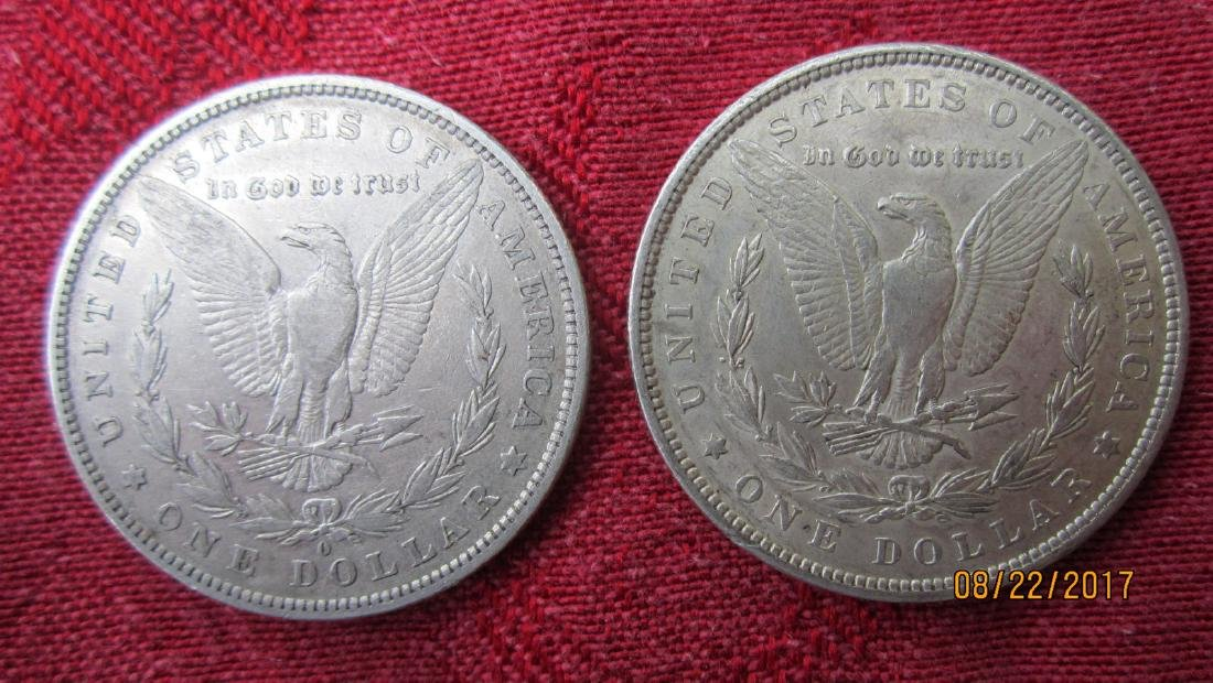 2 MORGAN SILVER DOLLARS - EXC.COND - U.S. MINT CASE - - 2