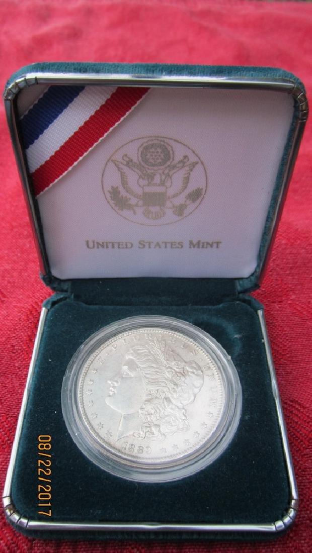 1889 MORGAN SILVER DOLLAR AU COND. IN U.S. MINT CASE - 3