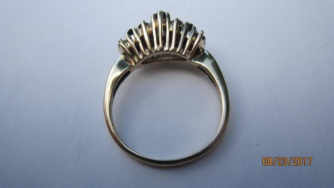 14K RING WITH 3 MARQUISE SAPPHIRES AND 10 ROUND - 3