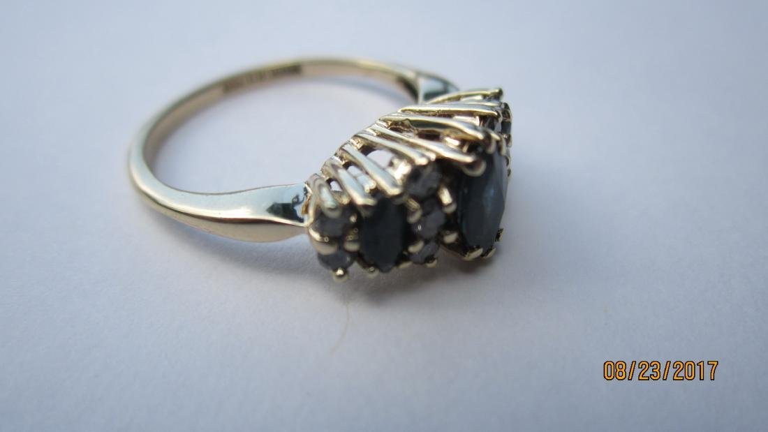 14K RING WITH 3 MARQUISE SAPPHIRES AND 10 ROUND - 4