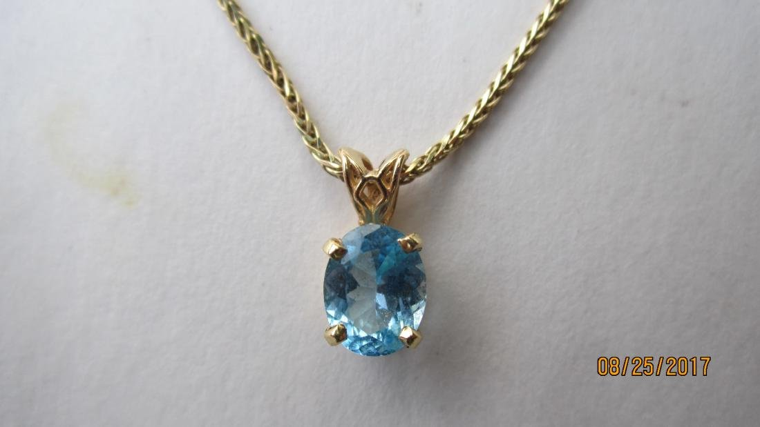 14K 15 INCH NECKLACE WITH A 14K PENDANT AND A BLUE - 2