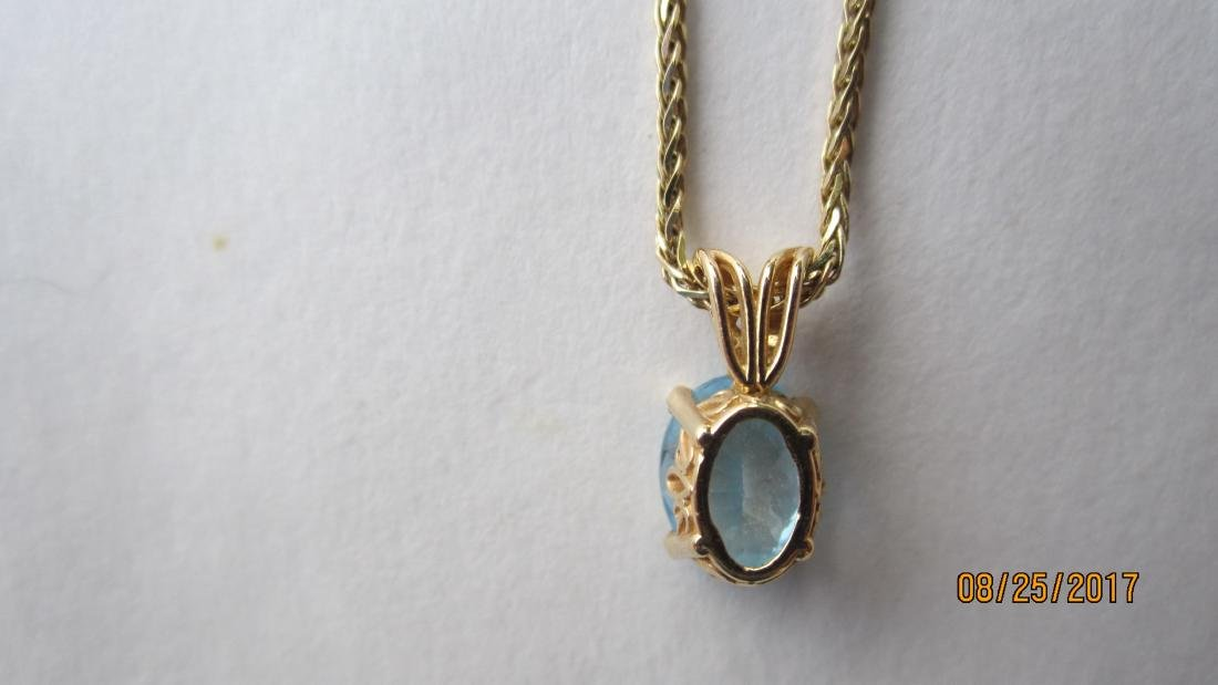 14K 15 INCH NECKLACE WITH A 14K PENDANT AND A BLUE - 4