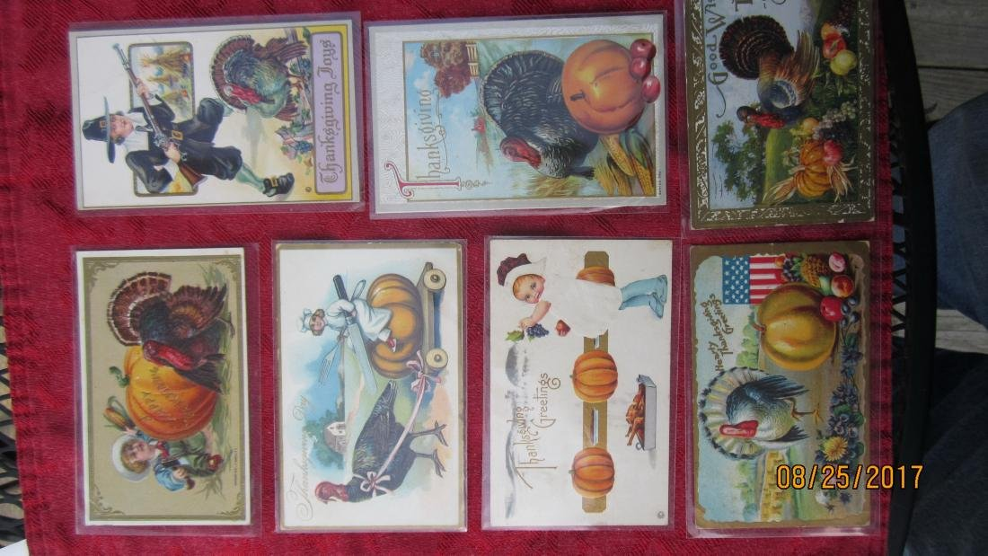 LOT OF 25 THANKSGIVING POSTCARDS - MOST IN PLASTIC -