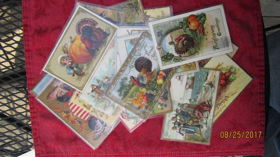 LOT OF 25 THANKSGIVING POSTCARDS - MOST IN PLASTIC - - 7