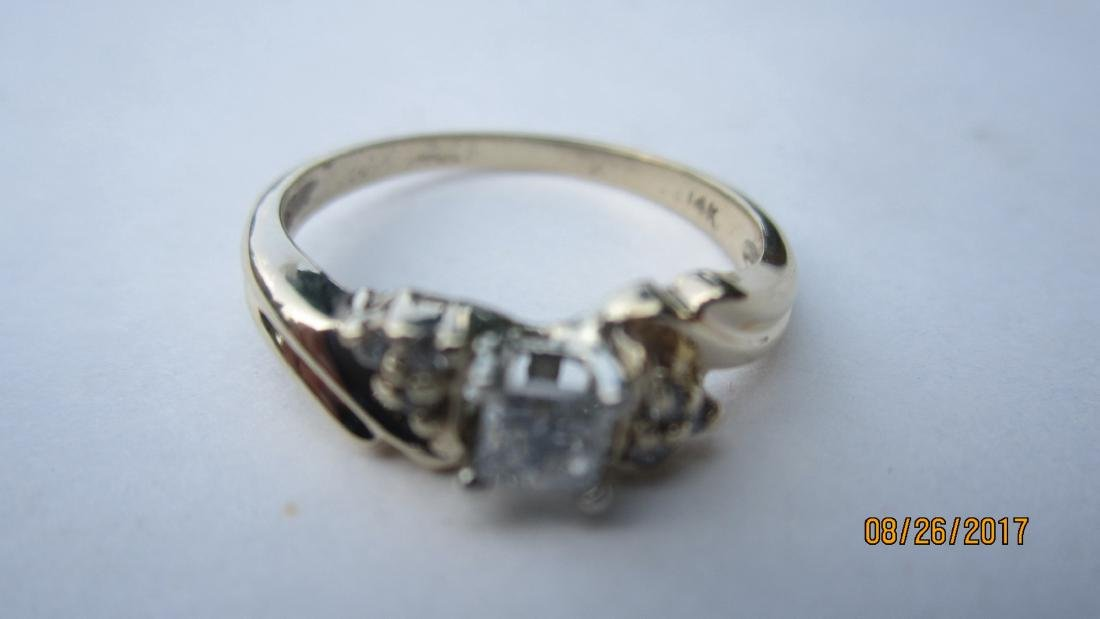 OUTSTANDING 14K RING WITH 25-30 PT. PRINCESS CENTER