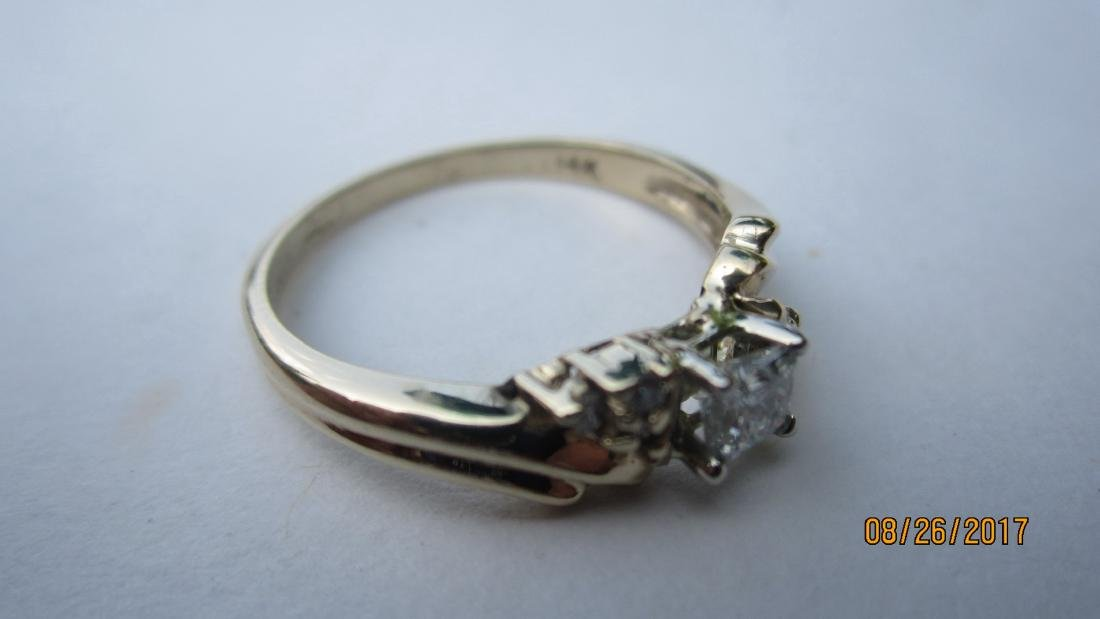 OUTSTANDING 14K RING WITH 25-30 PT. PRINCESS CENTER - 4