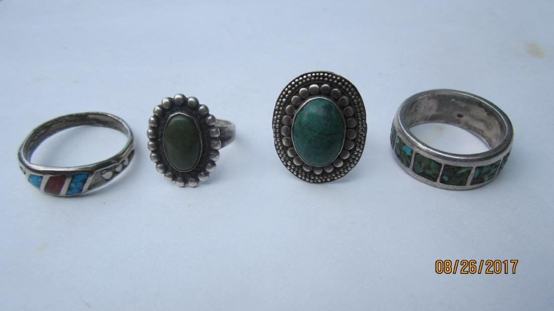 4 STERLING SOUTHWEST STYLE RING WITH TURQUOIS & OTHER